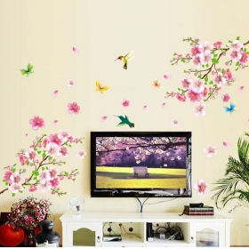 Ay9158 Beutiful Pink Tree With Birds Nature Wall Sticker  Jaamso Royals