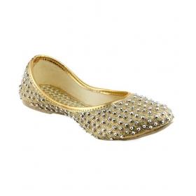 Gingler Gold Flat Ethnic Footwear