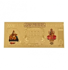 24k Gold Plated 1000 Rupees Note For Gift And Pooja