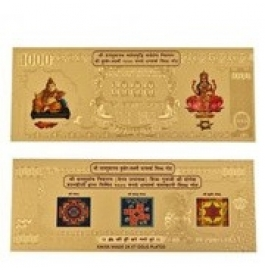 24kt Gold Plated Kuber Laxmi Note