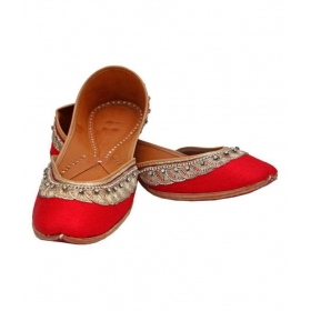 Red Flat Ethnic Footwear