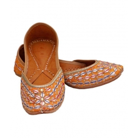 Yellow Flat Ethnic Footwear