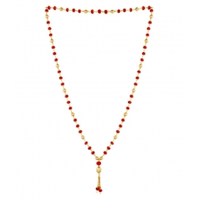 Golden Crystal Beads 22kt Gold Plated Matar Mala Long 30 Inches Chain Necklace