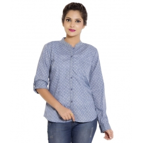Blue Poly Cotton Full Sleeves Shirts