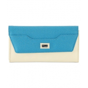 Leather Art Blue & White Clutch