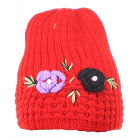 Red Acrylic Woollen Ladies Cap With Floral Design For Winters