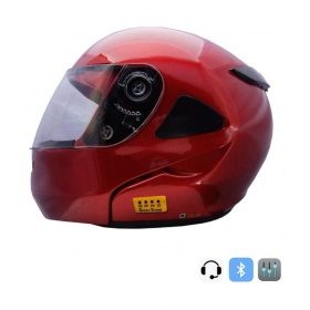 Green Stone Hybrid Bluetooth Helmet - Full Face Helmet Red L