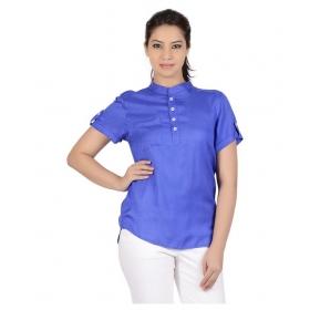Blue Viscose Regular Tops