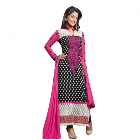 Black And Pink Embroidery Straight Dress Material