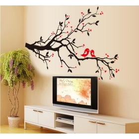 Ay7179 Love Birds On Tree Nature Wall Sticker  Jaamso Royals