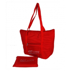 Waterproof Two Specious Bags Canvas Red Grocery Bag
