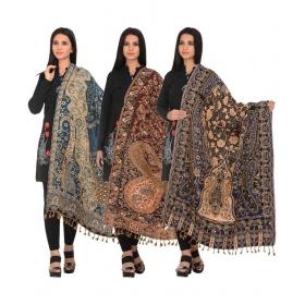 Multicoloured Woollen Digital Printed Shawls