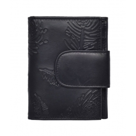 Black Floral Mutiple Slots Regular Wallet For Women