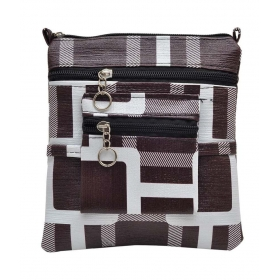 Hawai Choco Brown & White Block Pattern Sling Bag (small)