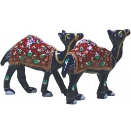 Blue Camel Pair Showpiece - 7 Cm  (aluminium, Blue)