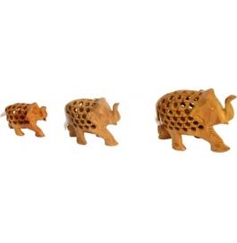 Wooden Elephant 3 Pieces Set Showpiece - 10 Cm  (wooden, Brown)