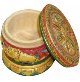 Wooden Painted Apple Box Showpiece - 7 Cm  (wooden, Multicolor)