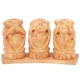 Wooden Gandhi 3 Monkey Showpiece - 7 Cm  (wooden, Brown)