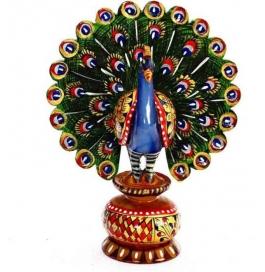 Painted Dancing Peacock Showpiece - 7 Cm  (wooden, Multicolor)