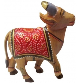 Wooden Painted Cow Showpiece - 12 Cm  (wooden, Brown)