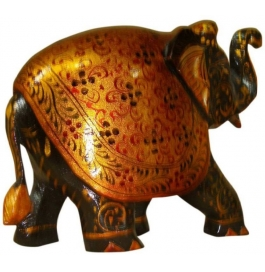 Black & Gold Painted Trunk Up Elephant 6 Inch Showpiece - 15 Cm  (wooden, Brown)