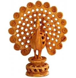 Wooden Dancing Peacock Showpiece - 15 Cm  (wooden, Brown)