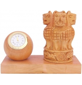 Wooden Handmade Ashoka Showpiece - 10 Cm  (wooden, Brown)