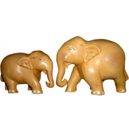Wooden Elephant Artifact Pack Of 2 Showpiece - 7 Cm  (wooden, Brown)