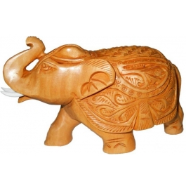 Wood Carving Elephant Trunk Up Showpiece - 12 Cm  (wooden, Brown)