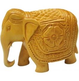 Wooden Design Elephant 6 Inch Showpiece - 15 Cm  (wooden, Brown)