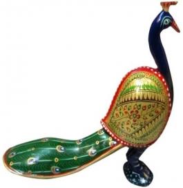 Wooden Painted Peacock Showpiece - 15 Cm  (wooden, Multicolor)