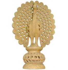 Jali Peacock Showpiece - 12 Cm  (wooden, Brown)