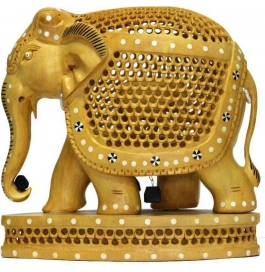 Jali Elephant With Base Showpiece - 15 Cm  (wooden, Brown)
