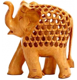 Wooden Elephant With Jaali Pattern Showpiece - 10 Cm  (wooden, Brown)