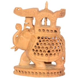 Jali Elephant With Amba Bari Showpiece - 15 Cm  (wooden, Brown)