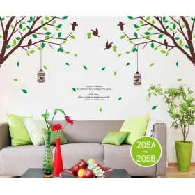 Ay205 Cage On Tree Nature Wall Sticker  Jaamso Royals