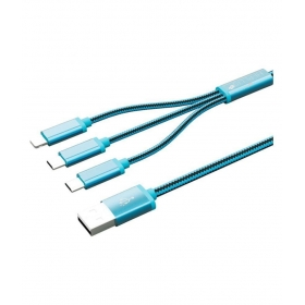 3in 1 Usb Charging Cable Tangle Free With 1.5 Meters For Iphone & Android