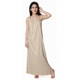Womens Cotton Beige Cotton Nighty ,free Size