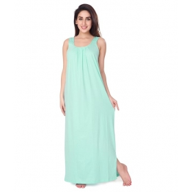 Half Sleeves Green Cotton Nighty