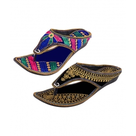 Multi Color Flat Ethnic Footwear