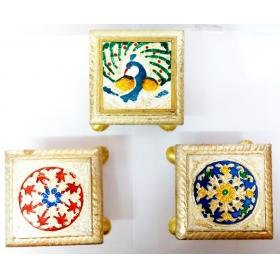Meenakari Puja Bajot Table Chowki Hindu Pooja, Indian Religious Chaurang