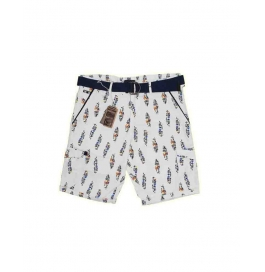 Casual Printed Cotton Shorts For Mens ( White )