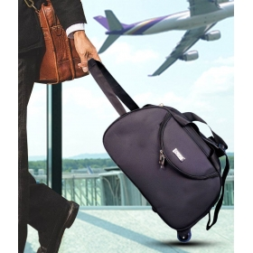 N Choice Black Solid Duffle Bag With Wheel
