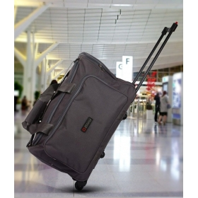 Grey 2 Wheel Overnighter Travel Bag With Trolley
