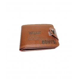 Bovis Men Brown Genuine Leather Wallet With Push Button