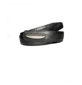 Men Casual Party Black Genuine Leather Belt