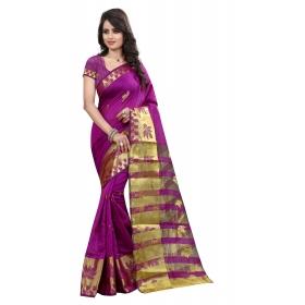 Chekspan Purple  Saree