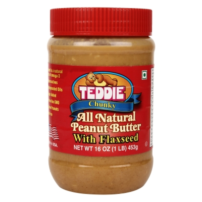 Teddie Usa Chunky All Natural Peanut Butter With Flaxseed, 450g