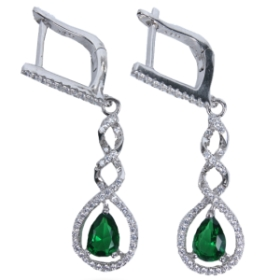 Crystal Designer Earrings  (green Color)