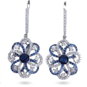 Flower Design Earrings (blue Color)